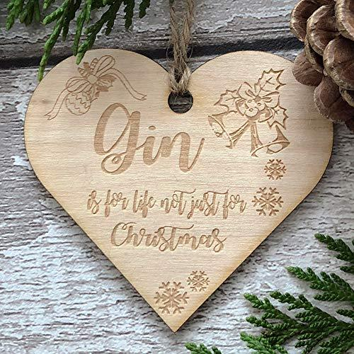 ukgiftstoreonline Gin Is Not Just For Christmas Novelty Heart Wooden Plaque Gift - ukgiftstoreonline