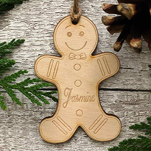 ukgiftstoreonline Gingerbread man personalised Wooden Christmas Tree Decoration Bauble - ukgiftstoreonline