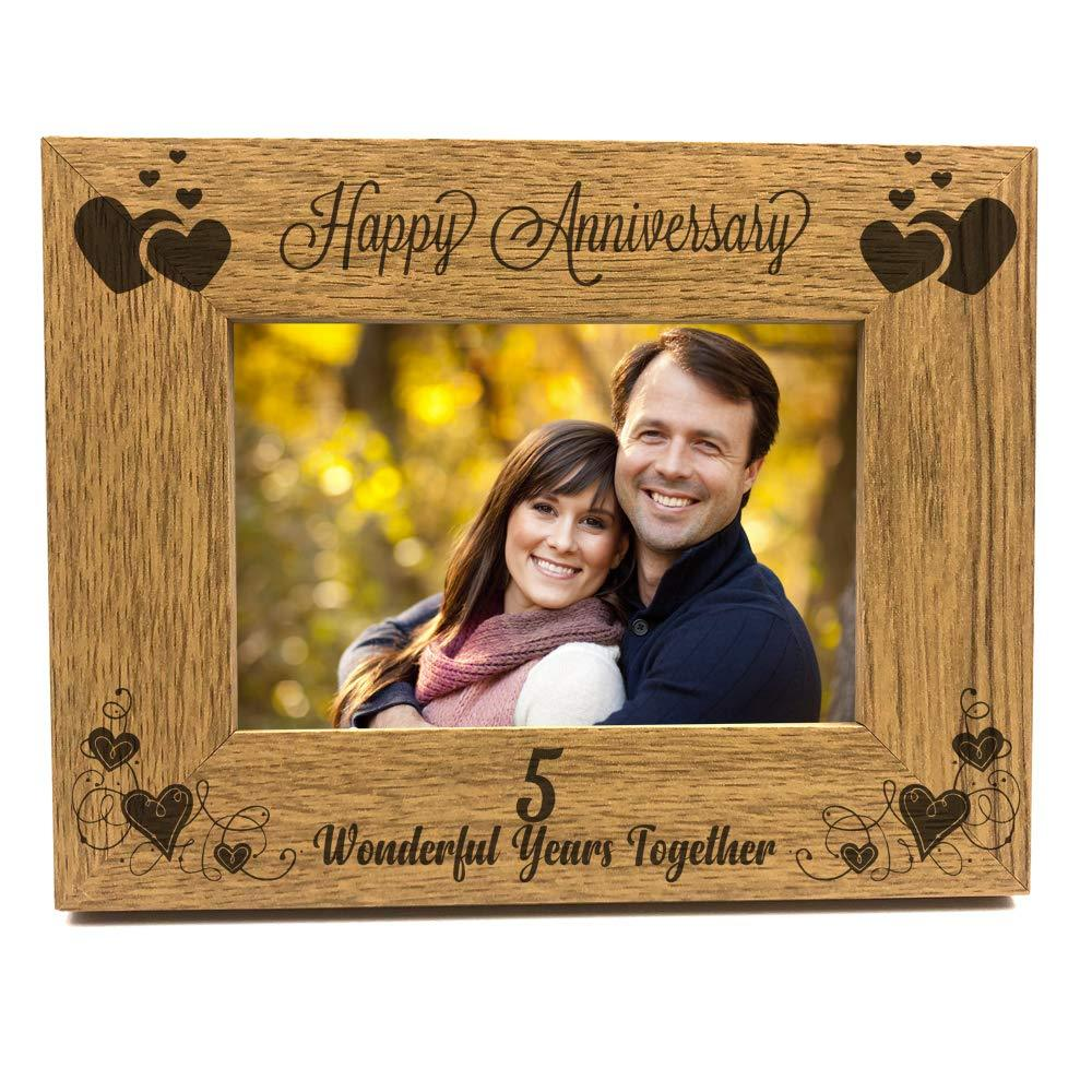 ukgiftstoreonline Happy 5th Anniversary Wooden Photo Frame Gift - ukgiftstoreonline