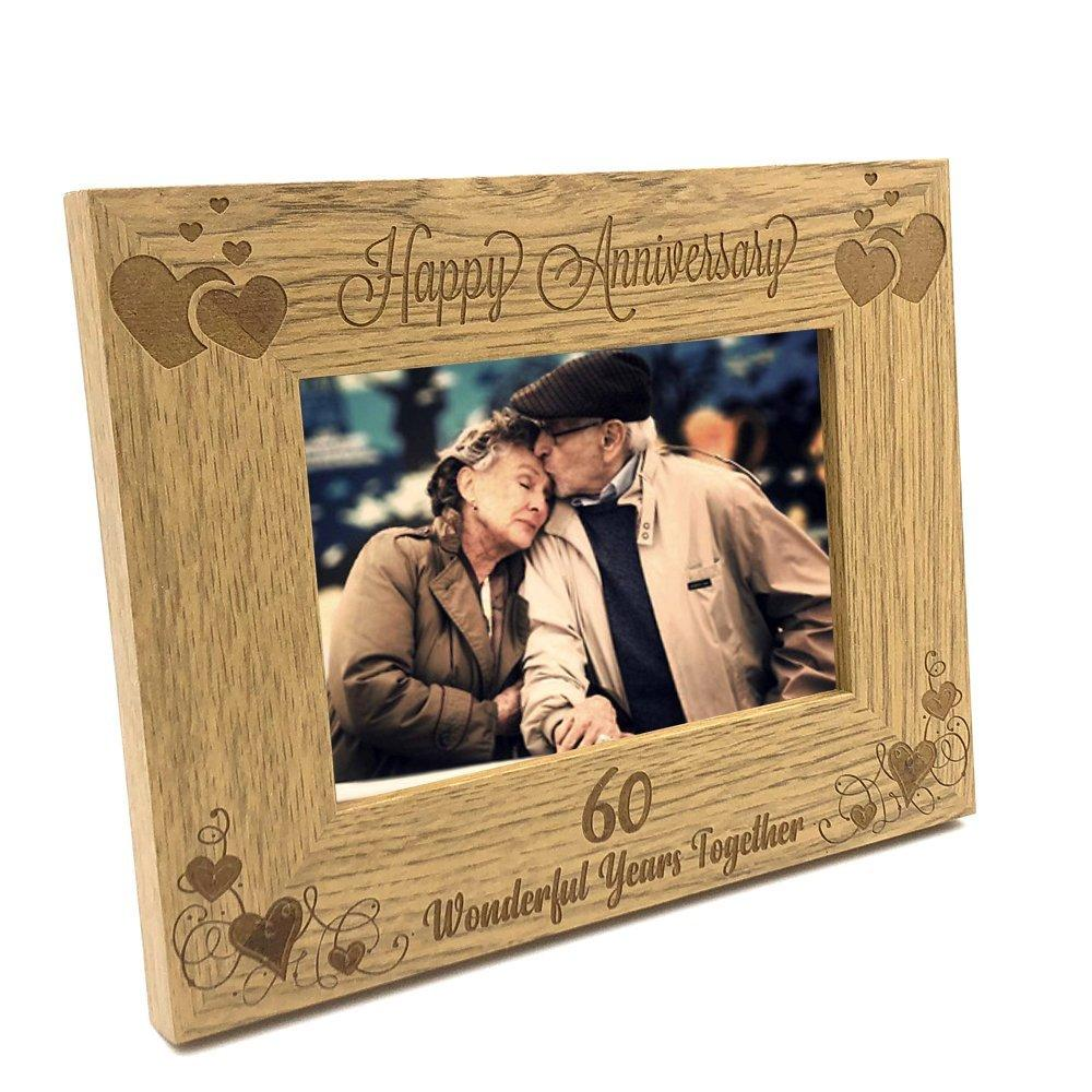ukgiftstoreonline Happy 60th Anniversary Wooden Photo Frame Gift - ukgiftstoreonline