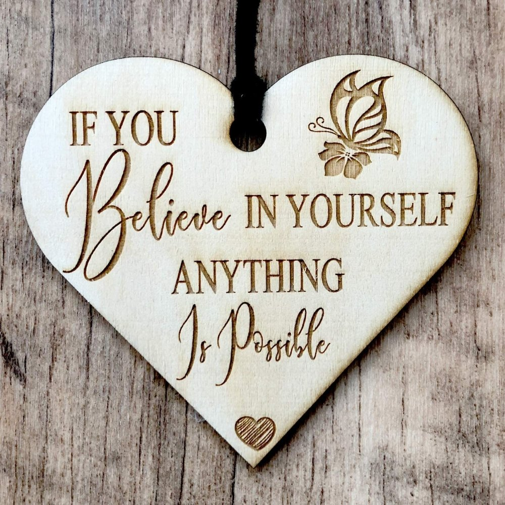 ukgiftstoreonline If You Believe In Yourself Engraved Plaque Wooden Heart Gift - ukgiftstoreonline