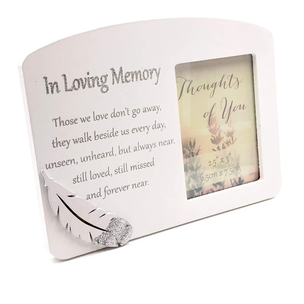 ukgiftstoreonline In Loving Memory Silver Feather Memorial Remembrance Photo Frame - ukgiftstoreonline