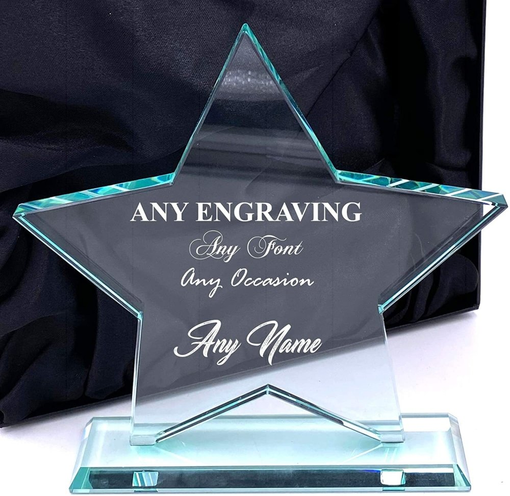 ukgiftstoreonline Large Jade Glass Personalised Star Trophy Any Engraving - ukgiftstoreonline