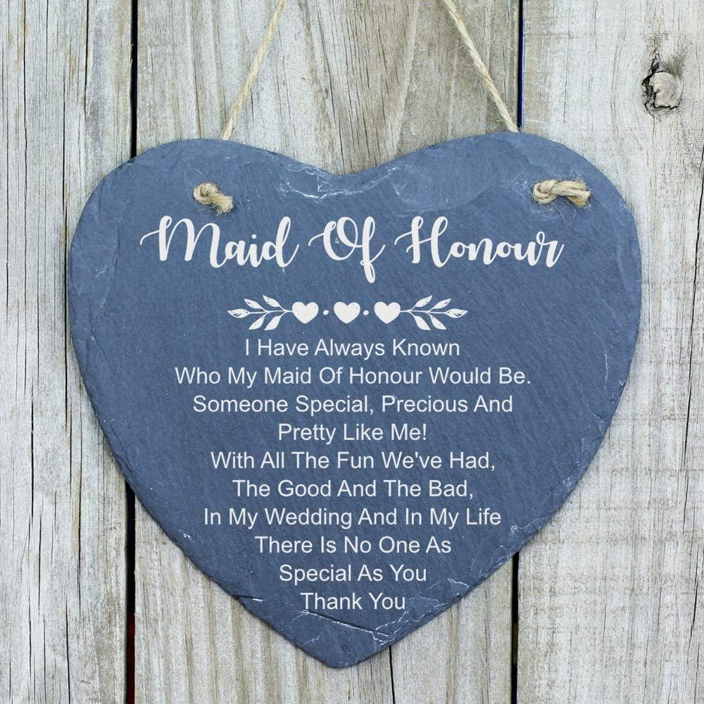 ukgiftstoreonline Maid Of Honour As Special As You Gift Large Slate Heart Plaque - ukgiftstoreonline