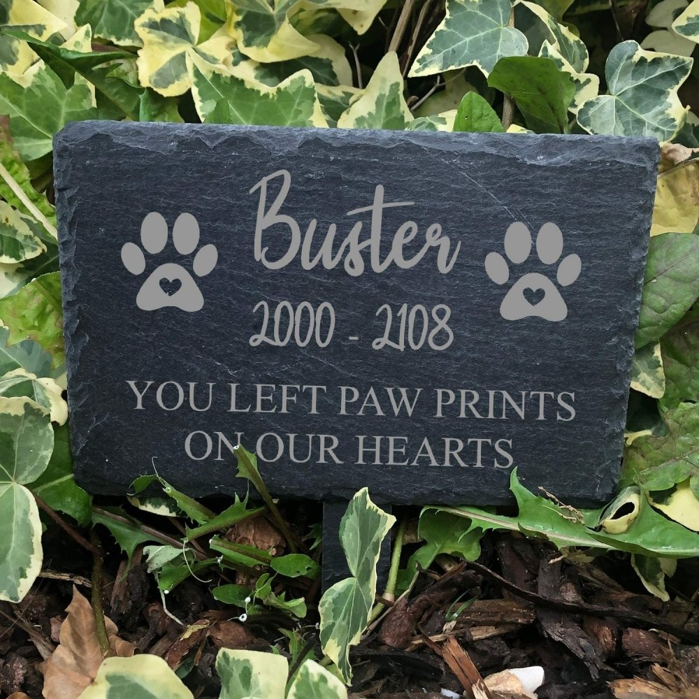 ukgiftstoreonline Memorial Plaque For Pet Dog - Personalised Dogs Grave Stone Slate Marker - ukgiftstoreonline
