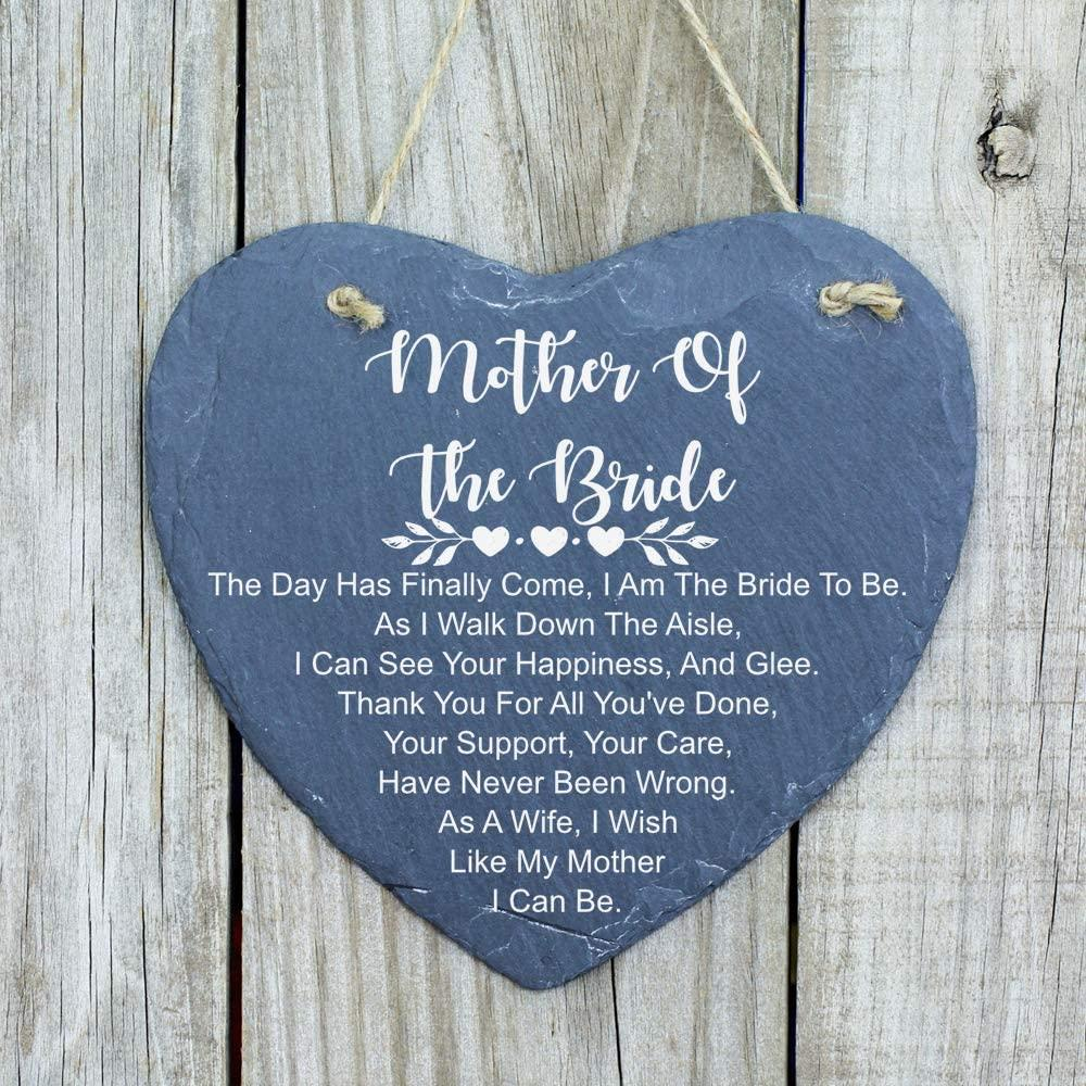ukgiftstoreonline Mother Of The Bride Gift Large Slate Heart Plaque - ukgiftstoreonline