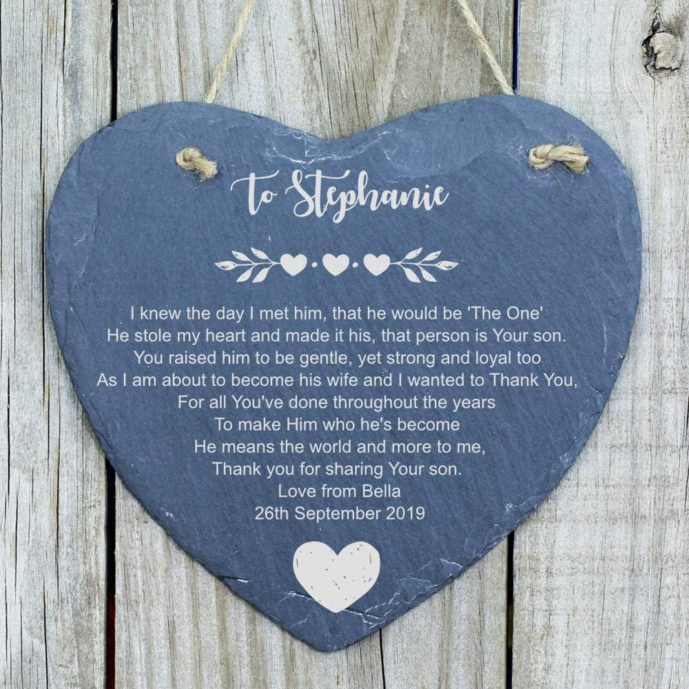 ukgiftstoreonline Mother of The Groom, Parents of The Groom Personalised Slate Heart - ukgiftstoreonline