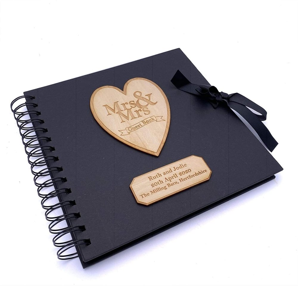 ukgiftstoreonline Mrs and Mrs Personalised Black Wedding Guest Book Wooden Engraving - ukgiftstoreonline