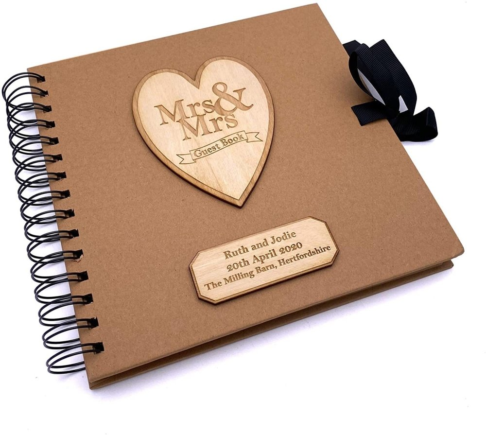 ukgiftstoreonline Mrs and Mrs Personalised Brown Wedding Guest Book Wooden Engraving - ukgiftstoreonline