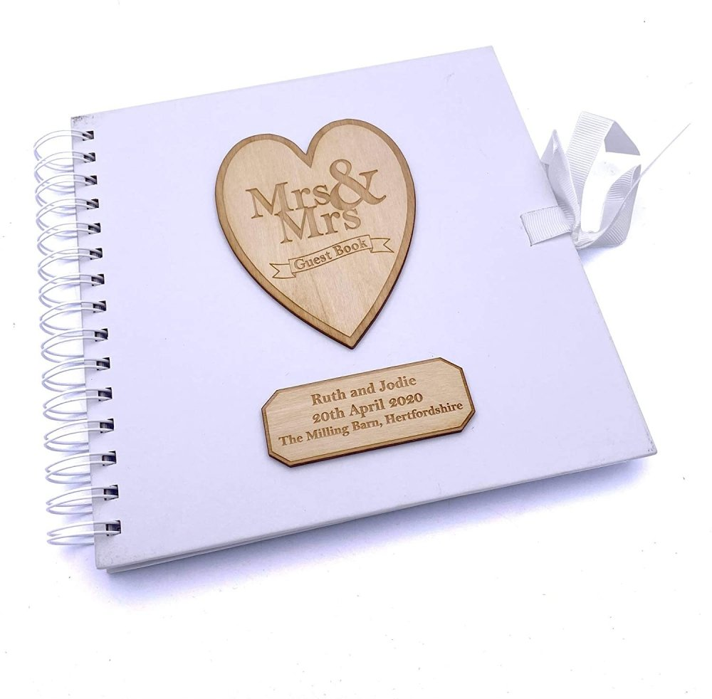 ukgiftstoreonline Mrs and Mrs Personalised White Wedding Guest Book Wooden Engraving - ukgiftstoreonline