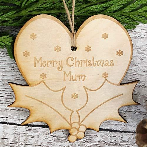 ukgiftstoreonline Mum Christmas Novelty Heart And Holly Wooden Plaque Gift - ukgiftstoreonline
