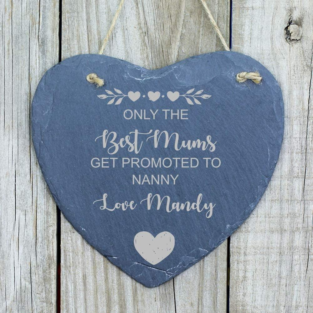 ukgiftstoreonline Mum Gift Only The Best Mums Get Promoted to Nanny/Nan/Gran Slate Heart - ukgiftstoreonline