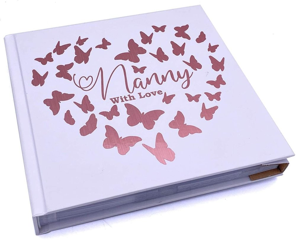 ukgiftstoreonline Nanny With Love Photo Album Keepsake Gift Butterfly Rose Gold Design - ukgiftstoreonline