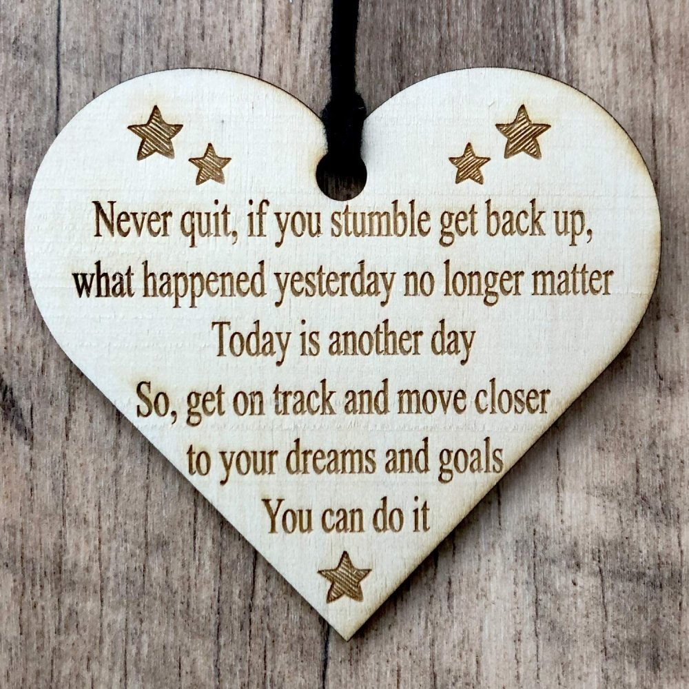ukgiftstoreonline Never Quit You Can Do It Engraved Plaque Wooden Heart Gift - ukgiftstoreonline