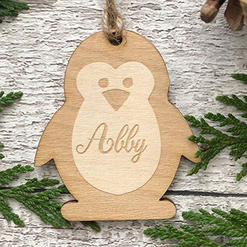 ukgiftstoreonline Penguin Shaped personalised Wooden Christmas Tree Decoration Bauble - ukgiftstoreonline