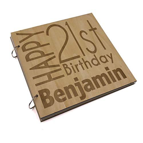 ukgiftstoreonline Personalised 21st Birthday Engraved Large Wooden Scrapbook Photo Album - ukgiftstoreonline