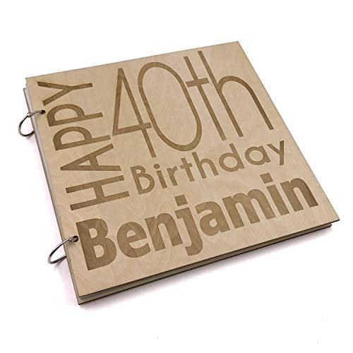 ukgiftstoreonline Personalised 40th Birthday Engraved Large Wooden Scrapbook Photo Album - ukgiftstoreonline