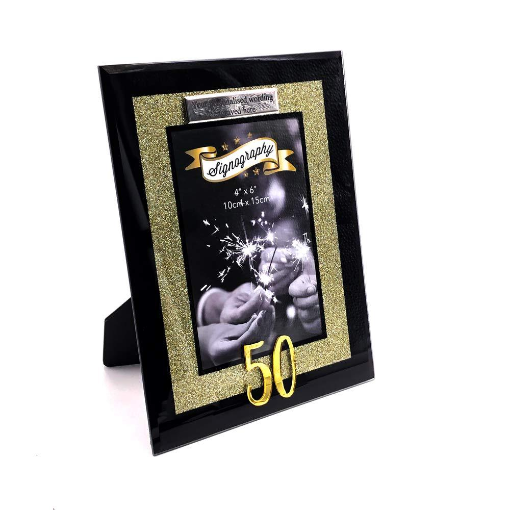 "ukgiftstoreonline PERSONALISED 50th BIRTHDAY GOLD GLITTER GLASS PHOTO FRAME 4"" X 6"" - ukgiftstoreonline"