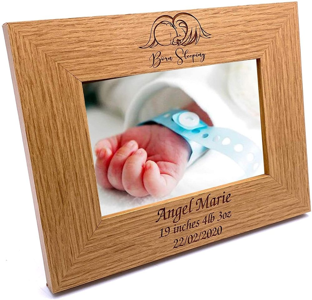 ukgiftstoreonline Personalised Baby Born Sleeping Photo Frame Keepsake - ukgiftstoreonline