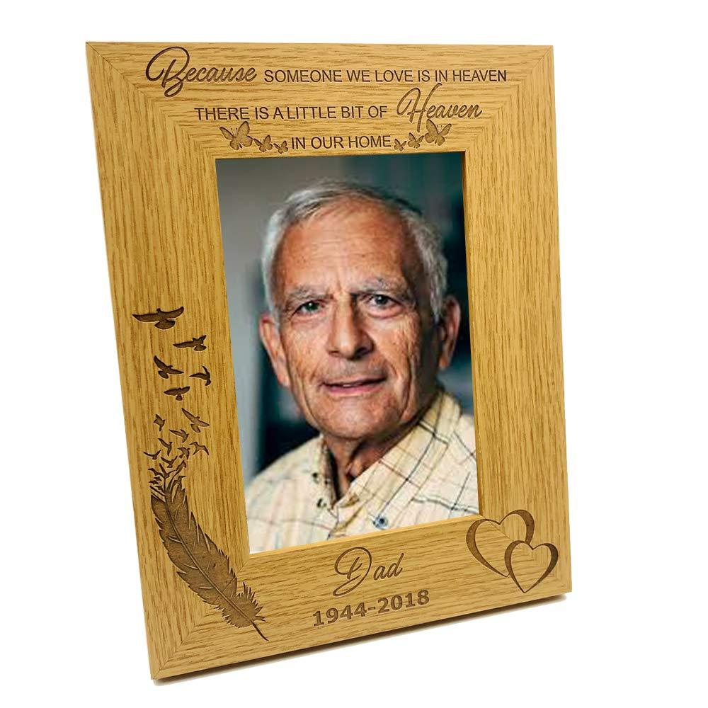 ukgiftstoreonline Personalised Because Someone We Love Is In Heaven Remembrance Photo Frame - ukgiftstoreonline