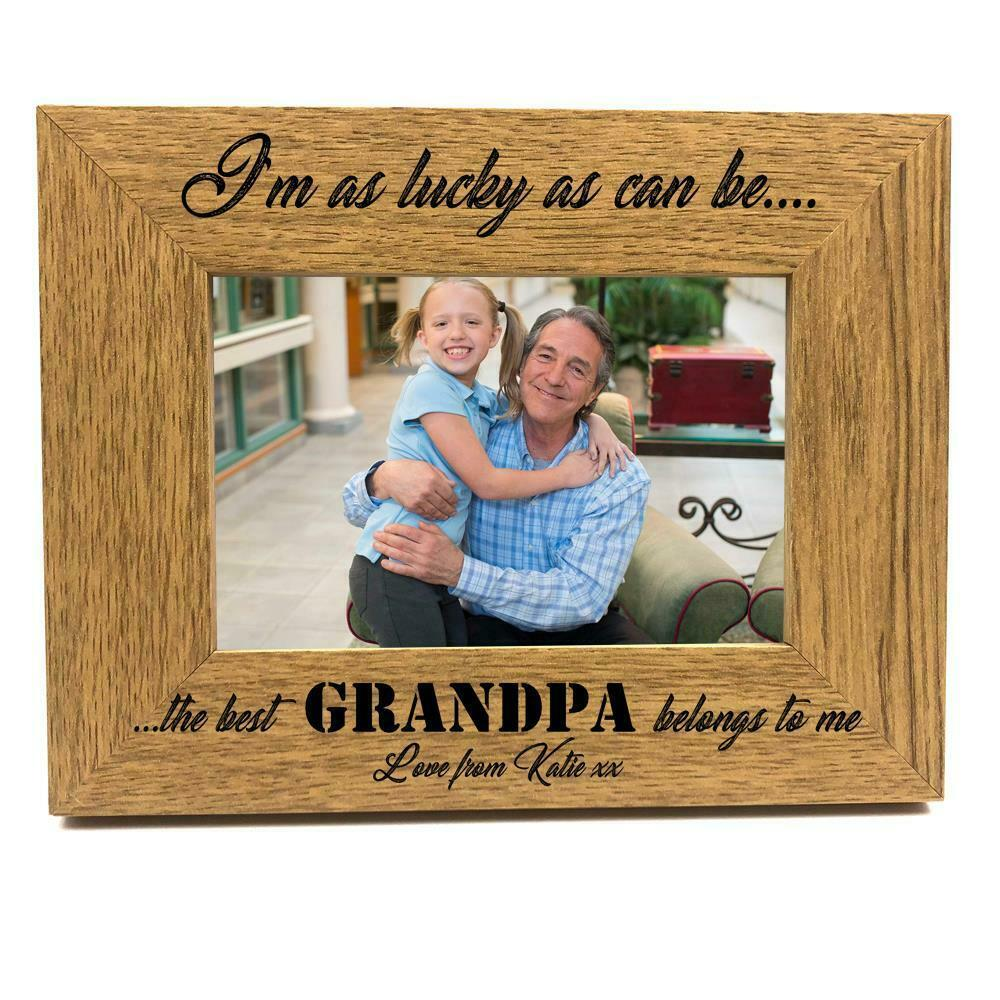 ukgiftstoreonline Personalised Best Grandpa Belongs To Me Wooden Photo Frame Gift - ukgiftstoreonline
