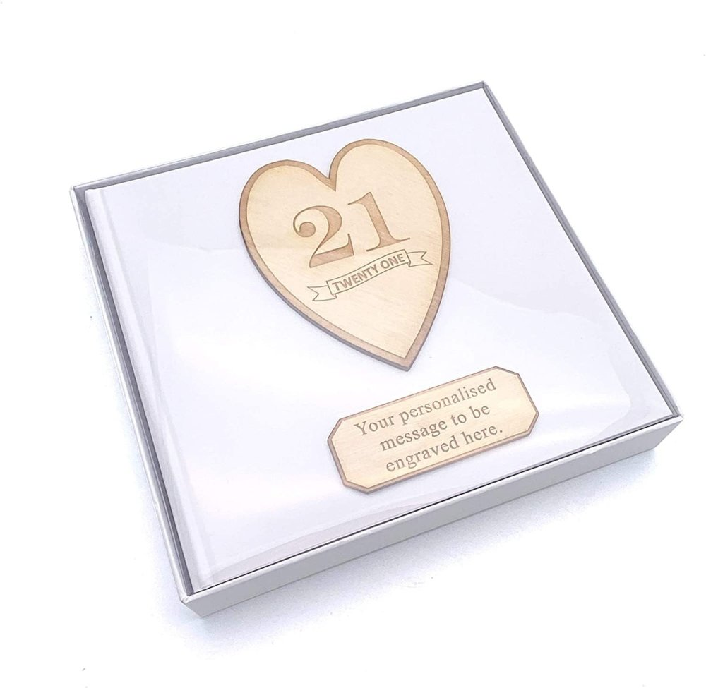 ukgiftstoreonline Personalised Birthday Photo Album Keepsake Gift Boxed Wood Engraved Any Age 13th, 16th, 18th, 21st, 30th, 40th, 50th, 60th, 70th - ukgiftstoreonline
