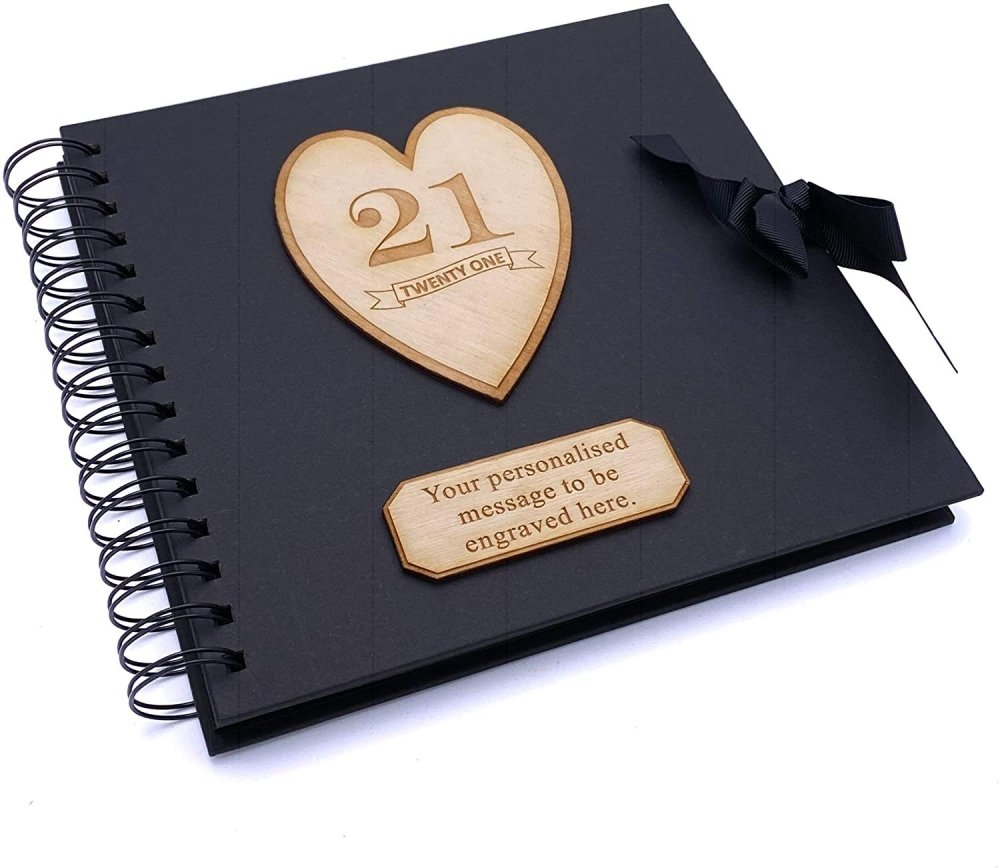 ukgiftstoreonline Personalised Black Birthday Guest Book Scrapbook Photo album Wooden Engraving 13th, 16th, 18th, 21st, 30th, 40th, 50th, 60th, 70th, 80th, 90th - ukgiftstoreonline