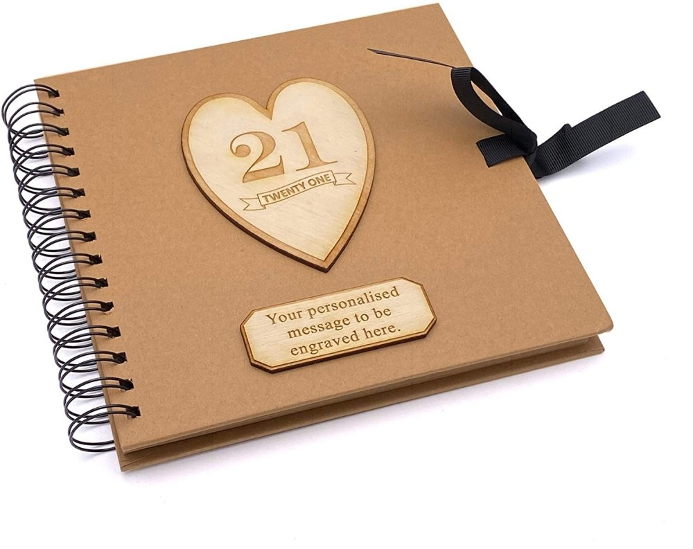 ukgiftstoreonline Personalised Brown Birthday Guest Book Scrapbook Photo album Wooden Engraving 13th, 16th, 18th, 21st, 30th, 40th, 50th, 60th, 70th, 80th, 90th - ukgiftstoreonline