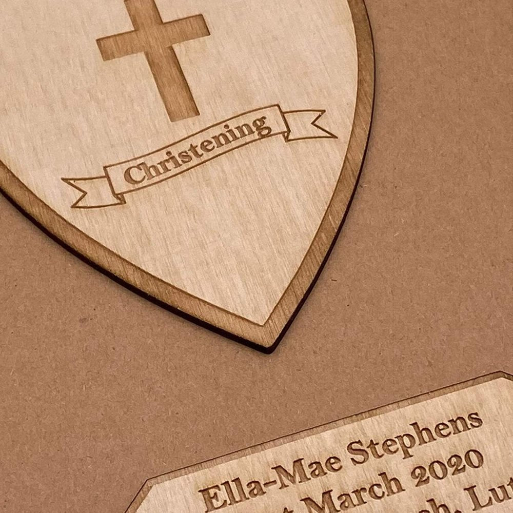 ukgiftstoreonline Personalised Brown Christening Day Guest Book With Wooden Engraving - ukgiftstoreonline