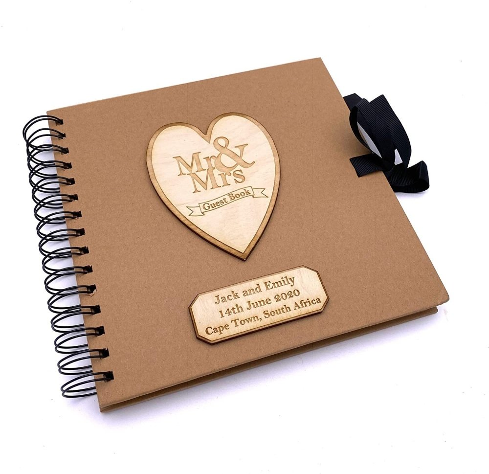 ukgiftstoreonline Personalised Brown Wedding Guest Book Wooden Engraving Mr and Mrs - ukgiftstoreonline