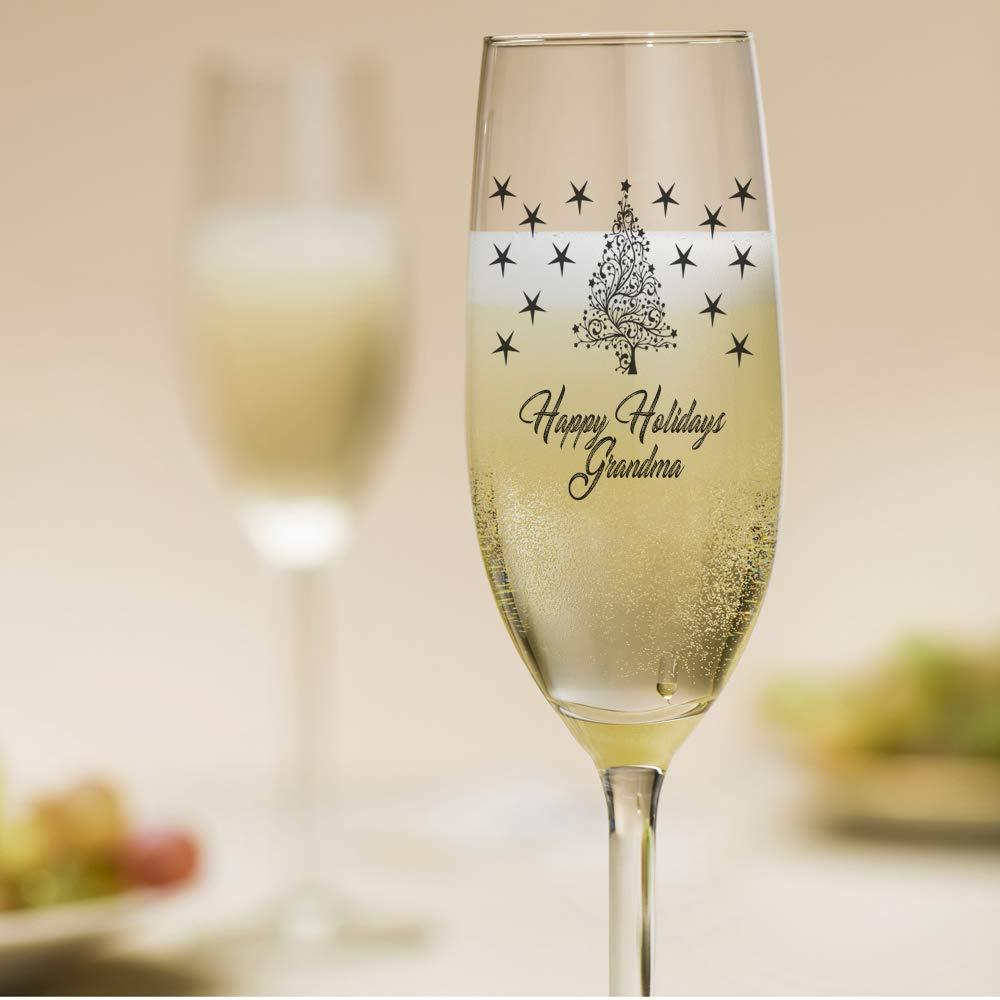 ukgiftstoreonline Personalised Christmas Themed Champagne Flute Prosecco Glass Gift - ukgiftstoreonline