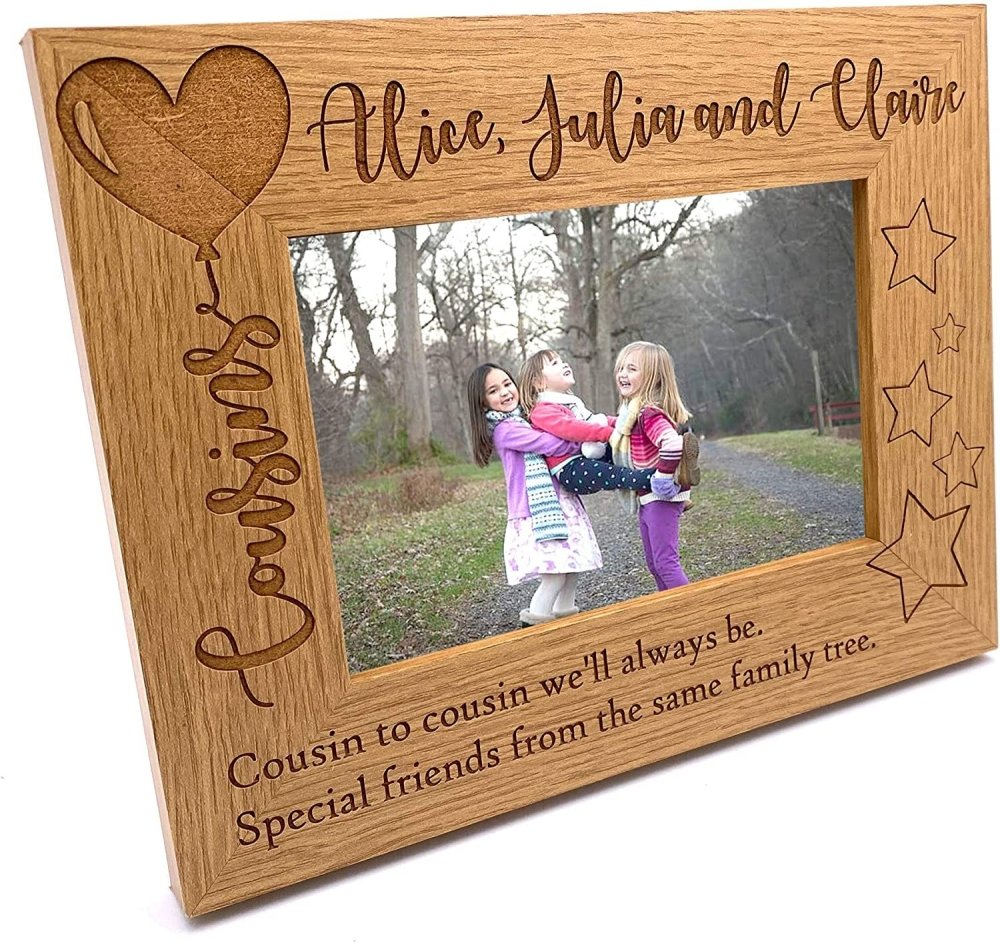 ukgiftstoreonline Personalised Cousins Photo Frame Balloon Design - ukgiftstoreonline