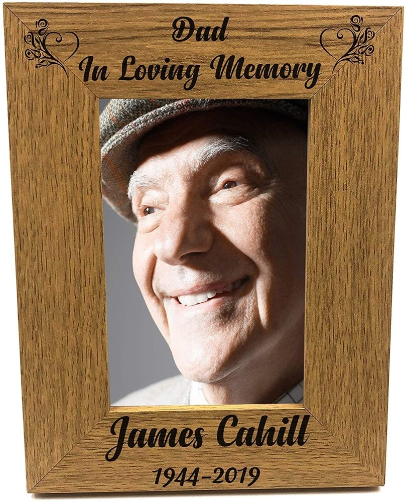 ukgiftstoreonline Personalised Dad In Loving Memory Remembrance Engraved Wooden Photo Frame - ukgiftstoreonline