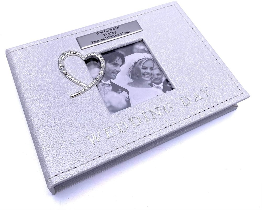 ukgiftstoreonline Personalised Diamante Heart Wedding Photo Album Gift 24 Photos - ukgiftstoreonline