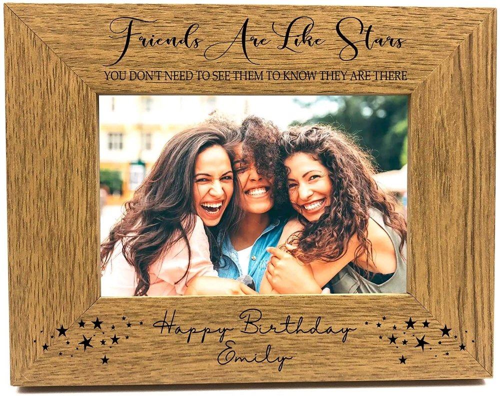 ukgiftstoreonline Personalised Friends Are Like Stars Landscape Oak Wood Finish Photo Frame FW414 - ukgiftstoreonline