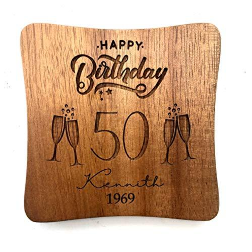 ukgiftstoreonline Personalised Happy Birthday Wood Coaster Gift 80th, 70th, 60th, 50th, 40th, 30th, 21st, 18th - ukgiftstoreonline