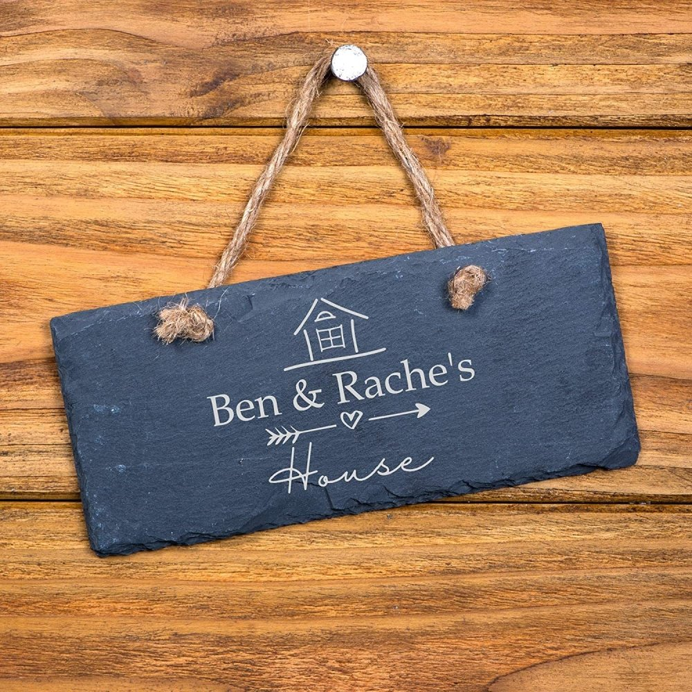 ukgiftstoreonline Personalised House Names Hanging Stone Slate Plaque New Home Gift - ukgiftstoreonline
