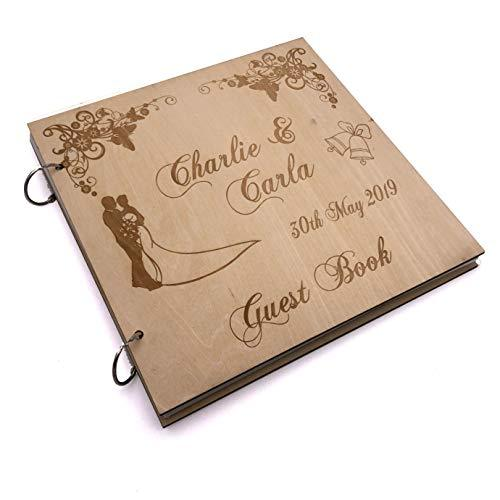 ukgiftstoreonline Personalised Large Engraved Wooden Wedding Guest Book - ukgiftstoreonline