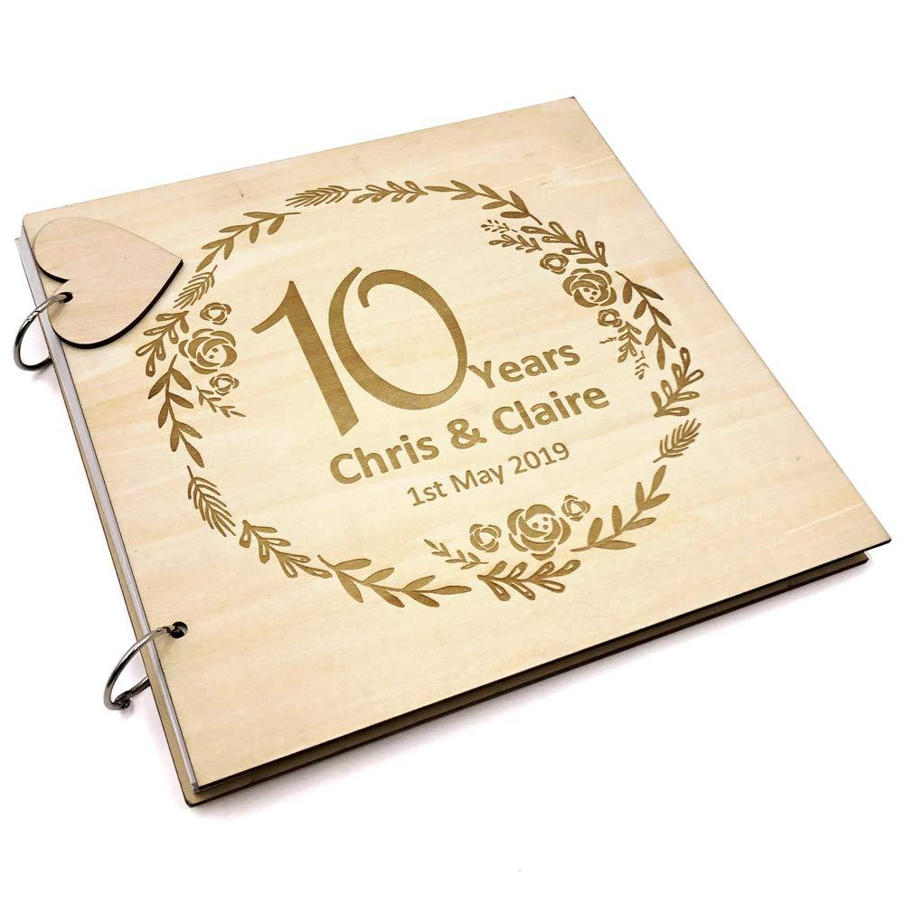 ukgiftstoreonline Personalised Large Wooden 10th Anniversary Scrap Book Photo Album Keepsake - ukgiftstoreonline