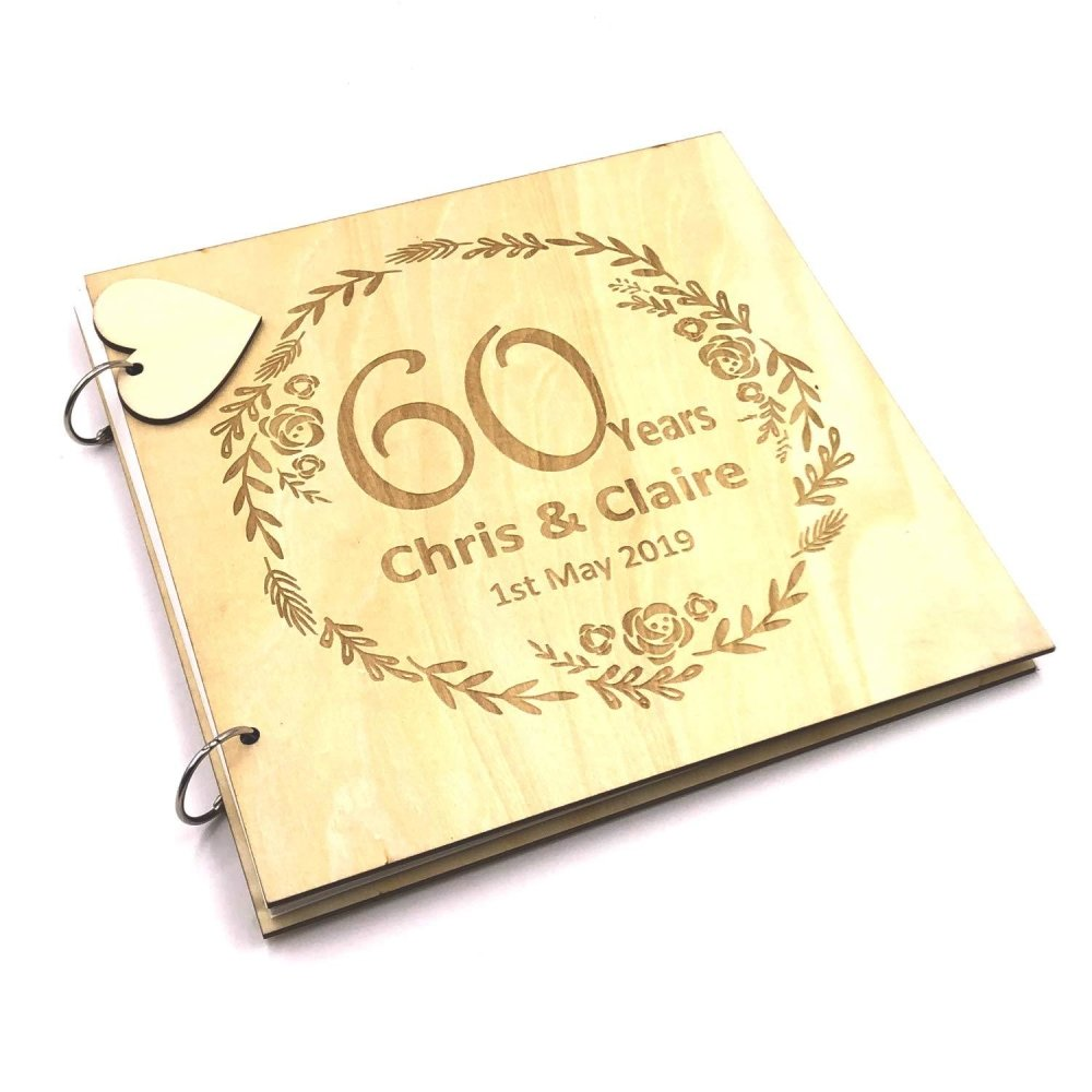 ukgiftstoreonline Personalised Large Wooden 60th Anniversary Scrapbook Photo Album Keepsake - ukgiftstoreonline