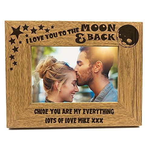 ukgiftstoreonline Personalised Love You To The Moon And Back Wooden Photo Frame Gift - ukgiftstoreonline