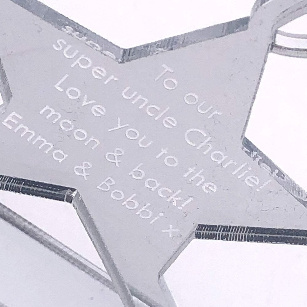 ukgiftstoreonline Personalised Mirrored Acrylic Star Worlds Best Uncle With Message - ukgiftstoreonline