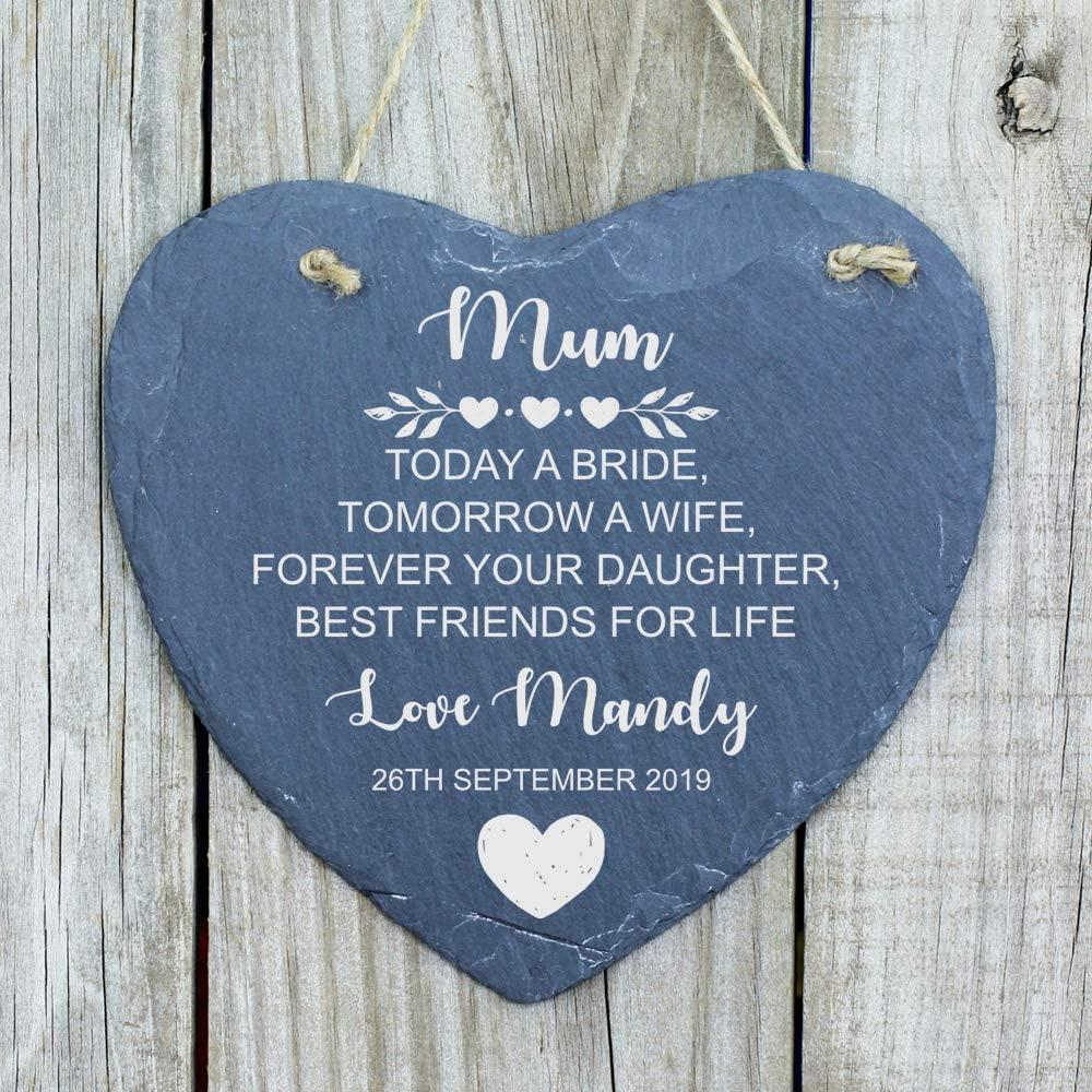 ukgiftstoreonline Personalised Mother of The Bride Heart Thank You Gift Mum Slate Heart - ukgiftstoreonline