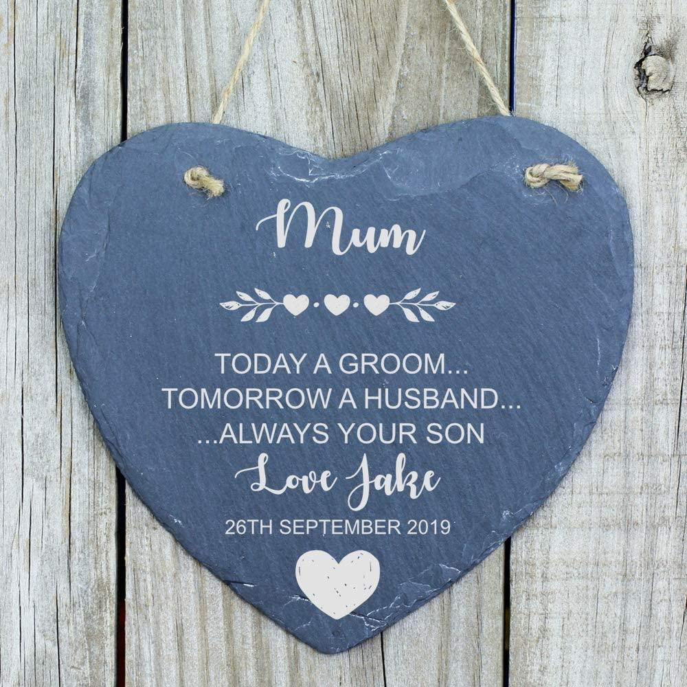 ukgiftstoreonline Personalised Mother of The Groom Heart Thank You Gift Mum Slate Heart - ukgiftstoreonline