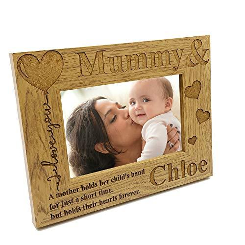 ukgiftstoreonline Personalised Mummy and Son or Daughter Heart Wooden Photo Frame Gift - ukgiftstoreonline