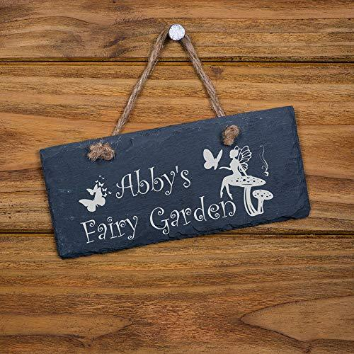 ukgiftstoreonline Personalised Slate Fairy Garden Shed Sign Plaque Gift - ukgiftstoreonline