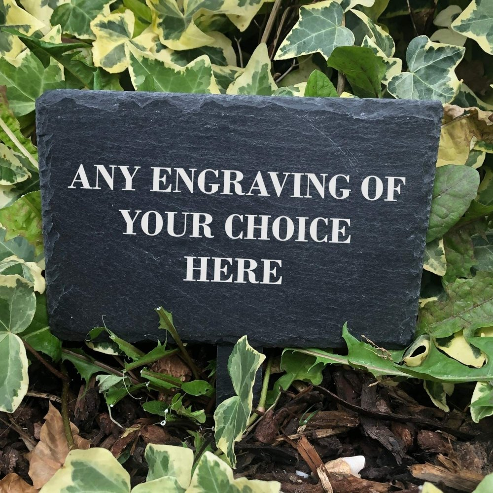 ukgiftstoreonline Personalised Slate Plant Marker Garden or Pot Plaque Any Engraving - ukgiftstoreonline