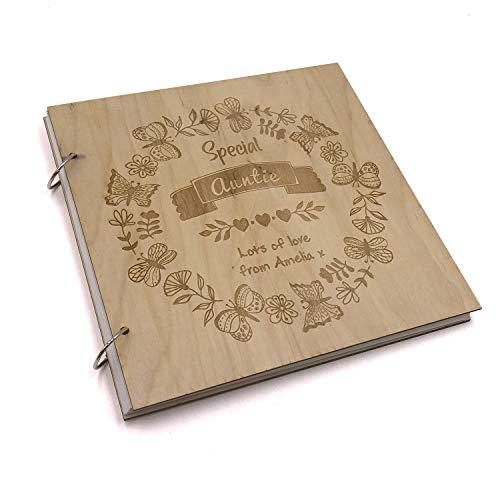 ukgiftstoreonline Personalised Special Auntie Engraved Large Wooden Scrapbook Photo Album - ukgiftstoreonline