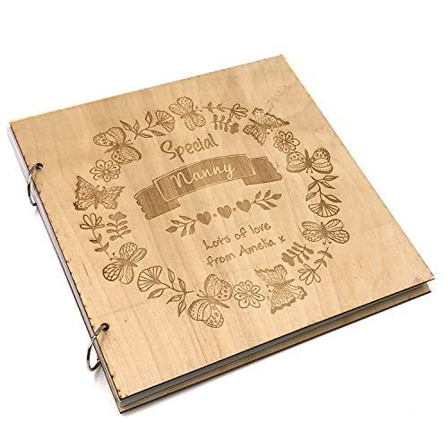 ukgiftstoreonline Personalised Special Nanny Engraved Large Wooden Scrapbook Photo Album - ukgiftstoreonline