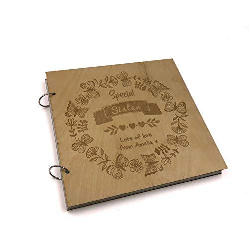 ukgiftstoreonline Personalised Special Sister Engraved Large Wooden Scrapbook Photo Album - ukgiftstoreonline